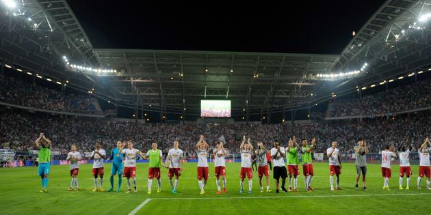 Les joueurs du RB Leipzig après une victoire contre Dortmund le 10 septembre 2016.