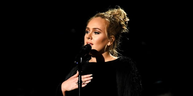 LOS ANGELES, CA - FEBRUARY 12:  Recording artist Adele performing a tribute to George Michael onstage during The 59th GRAMMY Awards at STAPLES Center on February 12, 2017 in Los Angeles, California.  (Photo by Kevork Djansezian/Getty Images)