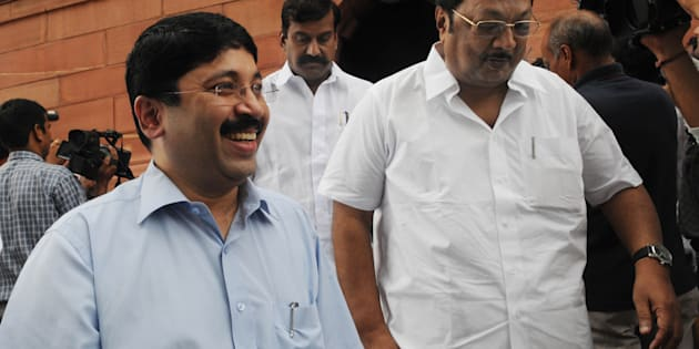 Dayanidhi Maran (left), with DMK members MK Alagiri and D Napoleon at the Parliament House in New Delhi (Photo by Naveen Jora/India Today Group/Getty Images).