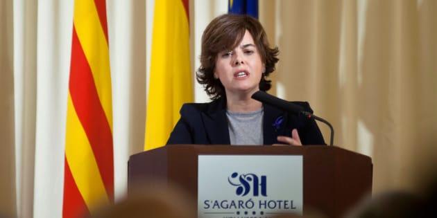 La vicepresidenta del Gobierno, Soraya Sáenzz de Santamaria, durante la inauguración del XXII Encuentro de Economía de S'Agaró.