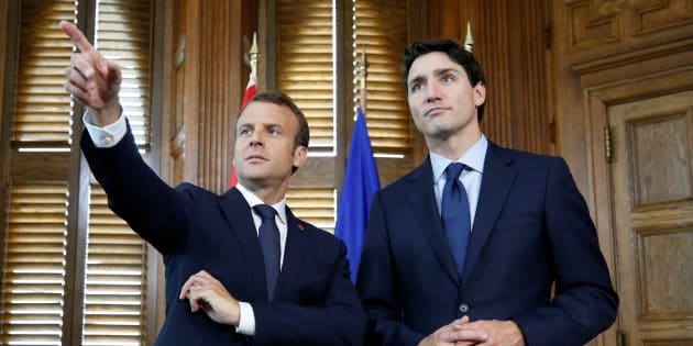 Emmanuel Macron et Justin Trudeau à Ottawa avant le G7.
