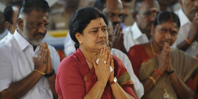 Indian general secretary of southern Tamil Nadu state's ruling All India Anna Dravida Munnetra Kazhagam (AIADMK) VK Sasikala pays her respects at the memorial for former state chief minister Jayalalithaa Jayaram after being elected party general secretary in Chennai on December 30, 2016.