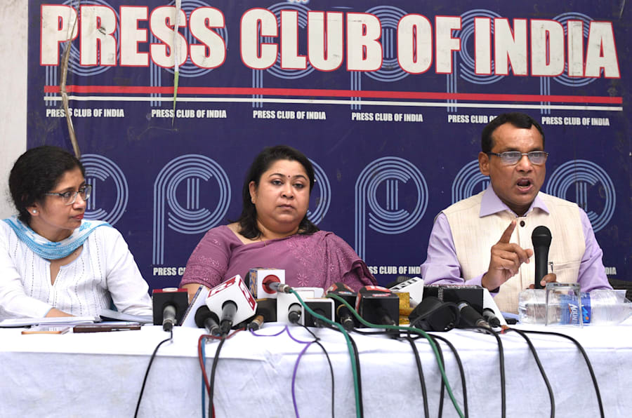 IAS officers during a press conference to counter AAP's claim that they are  on strike. Press Club of India on June 17, 2018 in New Delhi.