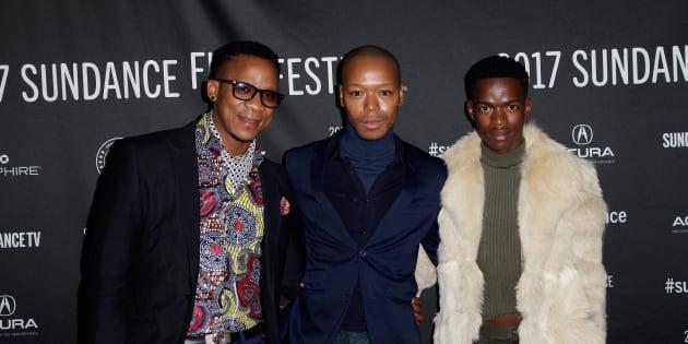 "(L-R) Actors Bongile Mantsai, Nakhane, and Niza Jay Ncoyini last January at the world premiere of ""Inxeba – The Wound"" at the 2017 Sundance Film Festival  in Park City, Utah, U.S."