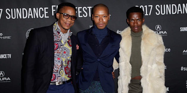 (L-R) Actors Bongile Mantsai, Nakhane, and Niza Jay Ncoyini attend the 'Inxeba' premiere at the 2017 Sundance Film Festival.