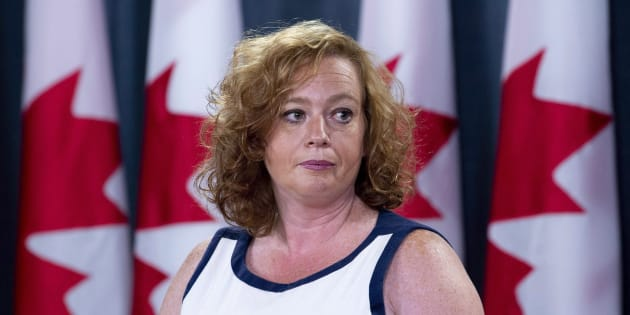 Lisa MacLeod, Ontario's Minister of Children, Community and Social Services speaks with the media in Ottawa on Aug. 13, 2018.