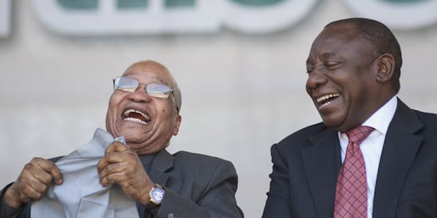 Happy days! President Jacob Zuma and Deputy President Cyril Ramaphosa in 2016.
