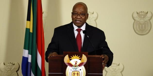 Jacob Zuma speaks Union Buildings in Pretoria, South Africa on Wednesday.
