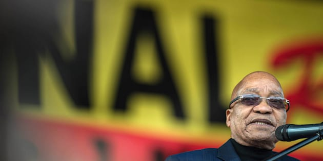 President Jacob Zuma addresses the Congress of South African Trade Unions (COSATU) May Day rally on May 1, 2016 in Pretoria.
