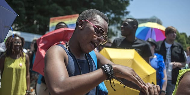 Supporters of lesbian, gay, bisexual, and transgender (LGBT) attends to Gay Pride March held in Johannesburg, South Africa, on October 25, 2014.