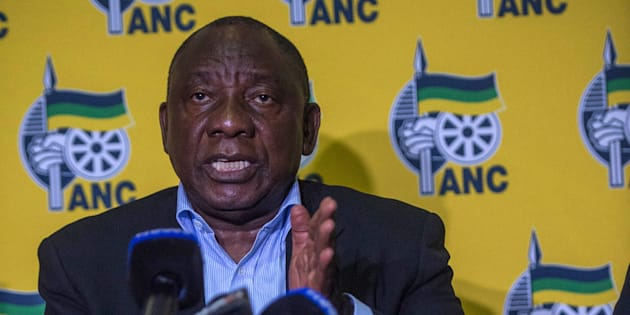 President Cyril Ramaphosa addresses the media after a meeting on April 20 2018, as protests continued in Mahikeng.
