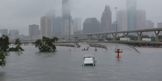 Interstate highway 45 is submerged from the effects of Hurricane Harvey seen during widespread flooding in Houston, Texas, U.S. August 27, 2017.