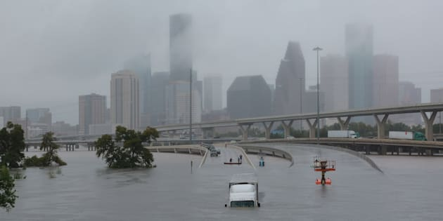 Interstate highway 45 is submerged during Hurricane Harvey, Houston, Texas on Aug. 27, 2017. The hurricane's economic impact could be felt far beyond the oil and gas businesses.