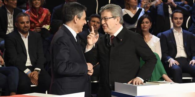 François Fillon et Jean-Luc Mélenchon durant le débat télévisé à onze diffusé sur BFMTV et CNews.