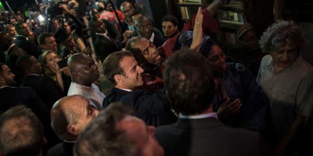 Emmanuel Macron arrivant au Shrine à Lagos le 3 juillet 2018.
