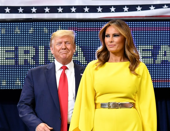 Melania Trump kicks off campaign in yellow jumpsuit