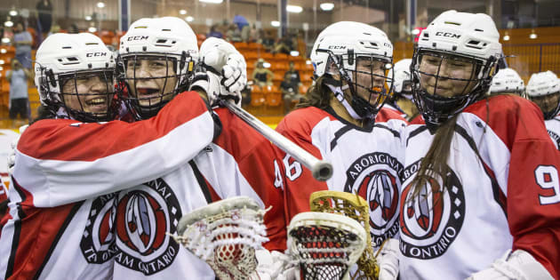 Ontario players celebrate after defeating British Columbia in women's lacrosse action during the North American Indigenous Games in Hagerville, Ont., on Monday.