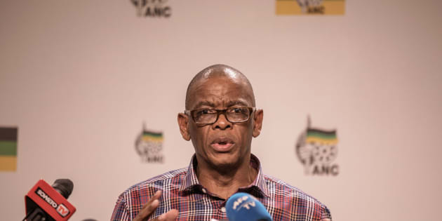 ANC secretary-general Ace Magashule at the press conference on Monday.