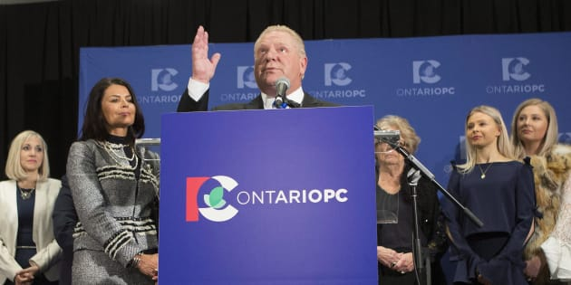 Doug Ford recalls the name of his brother, the late Rob Ford, as he stands at the podium after being named the new leader of the Ontario Progressive Conservatives at the delayed Ontario PC Leadership announcement in Markham, Ont., on Saturday.
