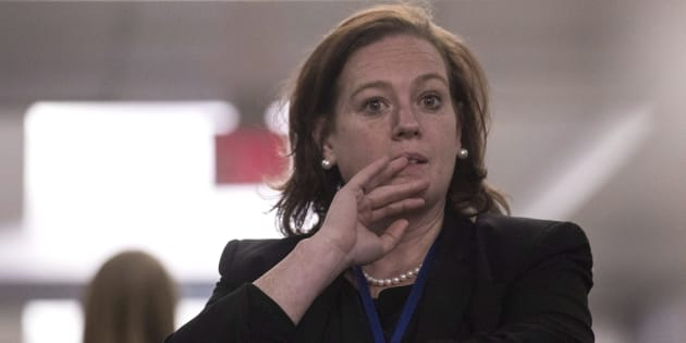 PC MPP Lisa MacLeod stands in a hallway during confusion about the result at the Ontario PC leadership announcement in Markham, Ont. on Saturday.