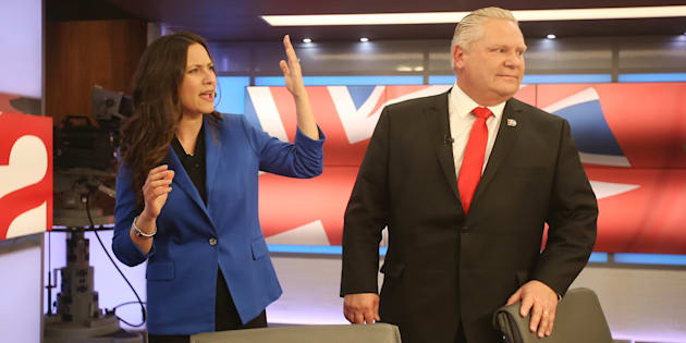 Former Progressive Conservative leadership rivals Tanya Granic Allen and Doug Ford talk after the PC leadership candidates debate at TVO studios in Toronto on Feb. 15, 2018.