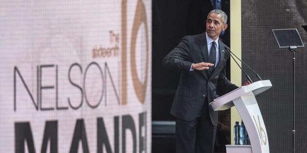 Barack Obama a pris la parole pour le centenaire de la naissance de Nelson Mandela, à Johannesbourg en Afrique du Sud.