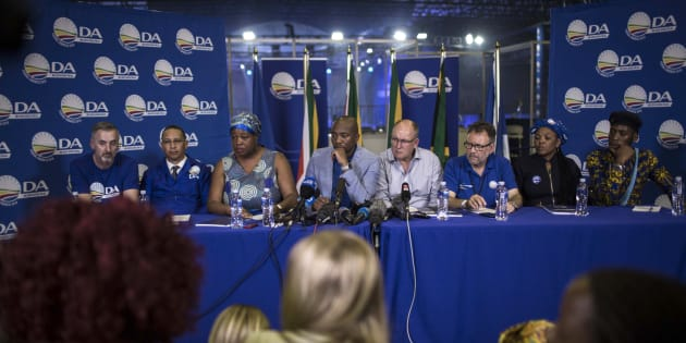 DA leadership – (L-R) deputy federal chairperson Mike Waters, deputy chairperson Refiloe Nt'sekhe, president Mmusi Maimane, federal chairperson Atholl Trollip, chairperson of the federal council James Selfe, women's network leader Nomafrench Mbombo and youth leader Luyolo Mphithi – speak at a press conference at the party's federal congress in Pretoria on April 8 2018.