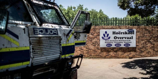 A police van parked outside Hoërskool Overvaal in Vereeniging during a protest against language and admission policies on January 19, 2018.