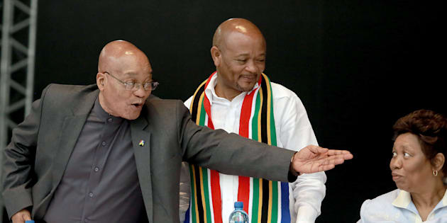 President Jacob Zuma (L) gestures next to former Kwazulu-Natal premier Senzo Mchunu (C) and Education Minister Angie Motshekga (R) at the Moses Mabhida Football stadium in Durban on March 21, 2016. Photo: RAJESH JANTILAL/AFP/Getty Images