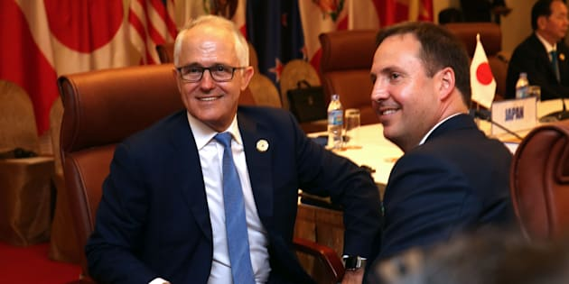Malcolm Turnbull and Trade Minister Steven Ciobo at APEC.