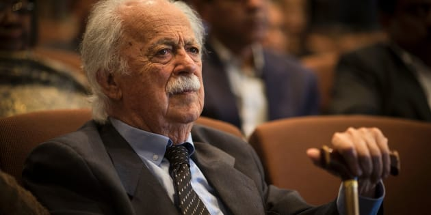 George Bizos, anti-apartheid activist and Rivonia treason trial defence lawyer, attends a memorial service in honour of anti-apartheid stalwart Ahmed Kathrada.