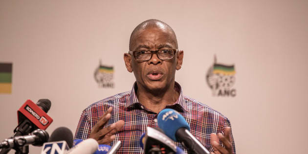 Ace Magashule briefs the press on January 22, 2018 in Johannesburg.