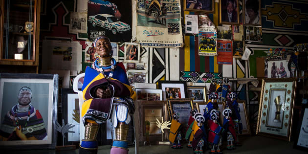 Artist Esther Mahlangu (81) poses at her home in Mabhoko Village, Siyabuswa, Mpumalanga on March 6, 2017.