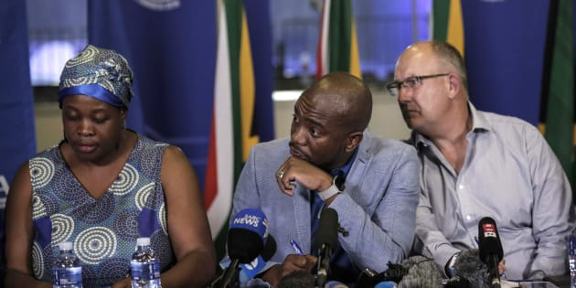 (L-R) DA deputy chair Refiloe Nt'sekhe, party president Mmusi Maimane and federal chair Atholl Trollip at a press conference at the party's federal congress in Pretoria on April 8 2018.