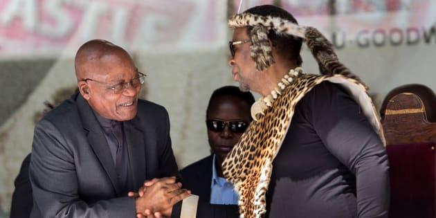 President Jacob Zuma greets Zulu King Goodwill Zwelithini.