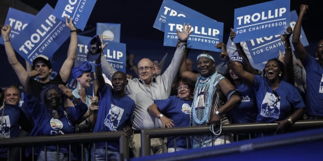 Athol Trollip and supporting members react after he is announced as the winner in the vote for federal chairperson of the DA.
