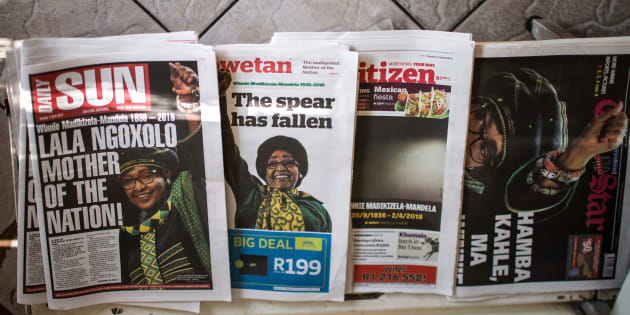 First pages of newspapers are pictured the day after the death of South African anti-apartheid campaigner Winnie Madikizela-Mandela, in Johannesburg on April 3, 2018.  / AFP PHOTO / GULSHAN KHAN        (Photo credit should read GULSHAN KHAN/AFP/Getty Images)