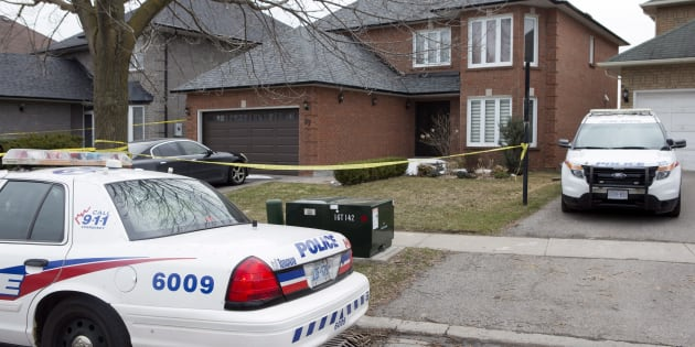 Police cars remain parked outside of the Toronto area home of Alek Minassian in Richmond Hill, Ont., on April 24, 2018.