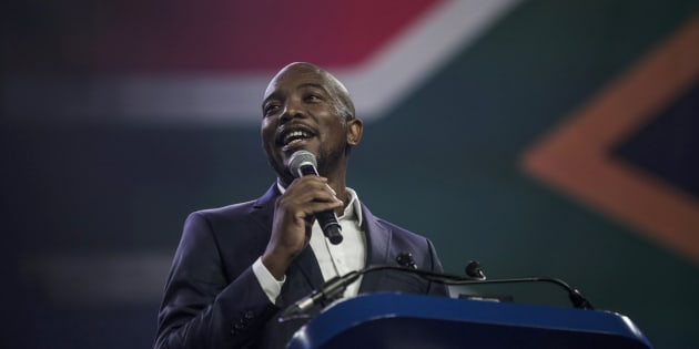 South African opposition party, the Democratic Alliance (DA) leader Mmusi Maimane, addresses the audience during the party congress in Pretoria on April 7, 2018.   / AFP PHOTO / GULSHAN KHAN        (Photo credit should read GULSHAN KHAN/AFP/Getty Images)