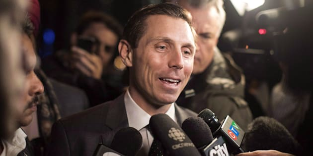 Patrick Brown leaves the Ontario PC Party head offices in Toronto on Feb. 20, 2018.