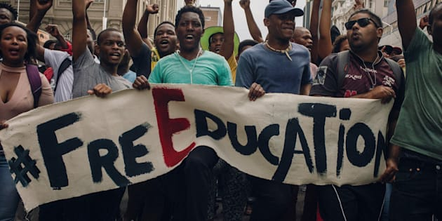 Hundreds of students demonstrate as part of a nationwide movement against higher university tuition fees on October 11, 2016 in Durban.
