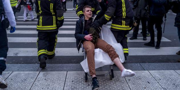 Le président de l'UNL Louis Boyard, blessé place de la République à Paris le 2 février 2019.