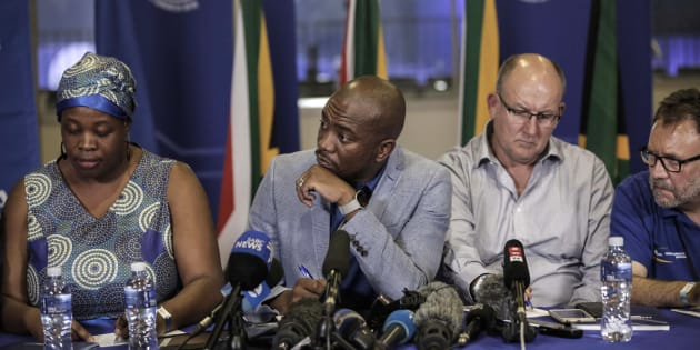 South African opposition party, Democratic Alliance (DA) leadership  (L-R) deputy chairperson Refiloe Nt'sekhe, President, Mmusi Maimane, Federal Chairperson, Atholl Trollip, chairperson of Federal Council James Selfe speak at a press conference at the party's Federal Congress in Pretoria on April 8, 2018.