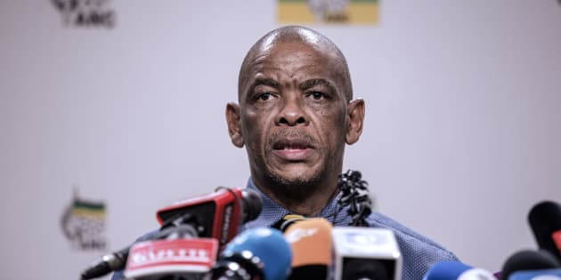 ANC Secretary General Ace Magashule gives a press briefing on February 13, 2018 on the outcome of the ANC National Executive Committee in Johannesburg.