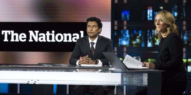 """New CBC """"The National"""" news anchors Ian Hanomansing, left, and Adrienne Arsenault rehearse a newscast in Toronto on Wednesday, Nov. 1, 2017."""