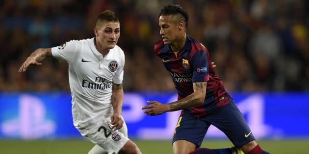 Neymar face à Marco Verratti lors de la dernière confrontation entre le PSG et Barcelone, en avril 2015, en quart de finale de la Ligue des champions
