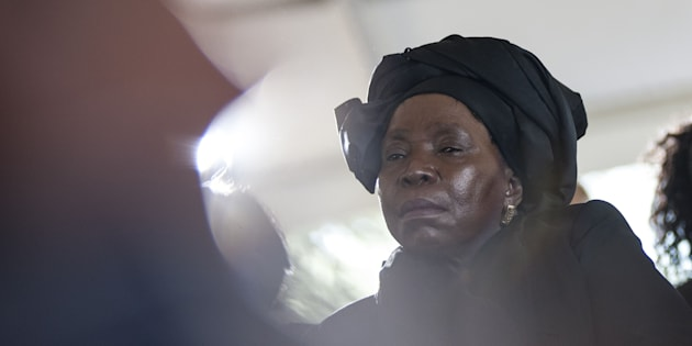 Former head of the African Union Commission, Nkosazana Dlamini-Zuma attends the funeral ceremony of Ahmed Kathrada at Westpark Cemetery in Johannesburg on March 29, 2017.