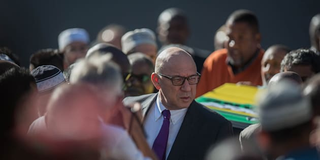 Former South African finance minister Trevor Manuel takes part in the wake for South African anti-apartheid activist Ahmed Kathrada in Houghton, Johannesburg, on March 29 2017.