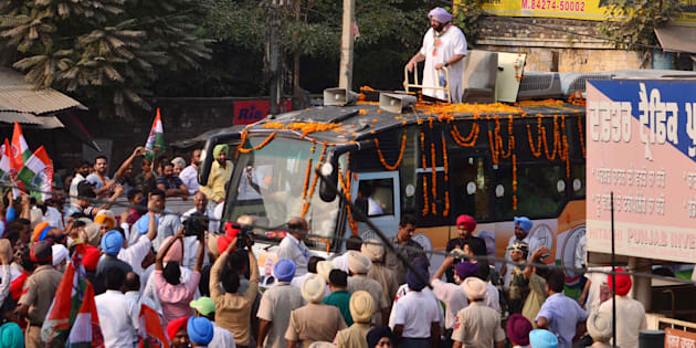 Punjab Chief Minister Capt. Amarinder Singh waves during a road show in favour of Congress candidate for Gurdaspur Lok Sabha bypoll Sunil Jakhar on October 9, 2017 in Gurdaspur, India.