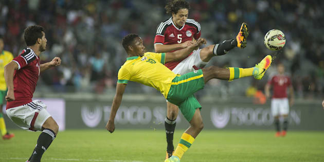 Sibusiso Vilakazi in action for Bafana Bafana against Egypt's Ibrahim Salah during a friendly match at Orlando Stadium in Johannesburg, on September 6 2016.